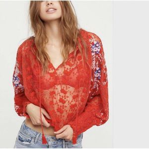 Free People Sheer Embroirdered Floral Top Blouse